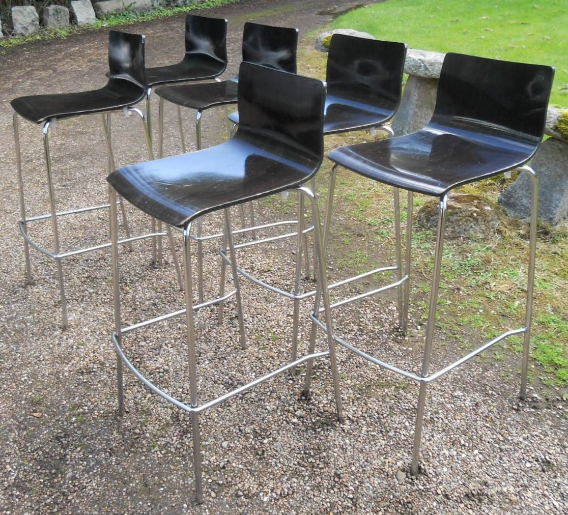 Set Of Six Stacking Chrome Amp Ply Wood Bar Stools